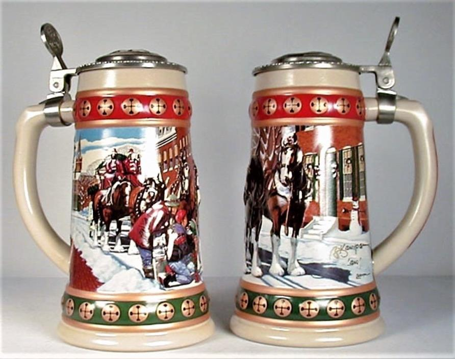 New STEIN SET Lot Holiday Lidded COLLECTOR Christmas SIGNATURE BUD AB 93-94