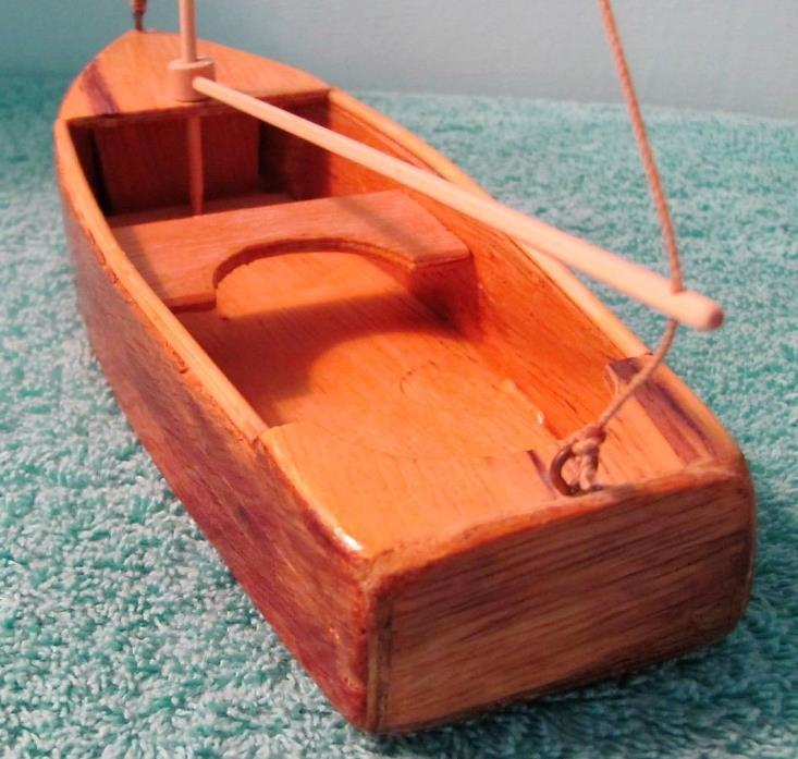 Vintage Wood Wooden Model Sailboat, Handmade, Catboat Design, Nautical Décor
