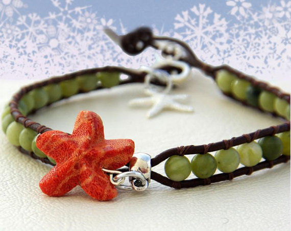 Coral Reef Leather Wrap Anklet Green Brown Orange Starfish Coral 8.7