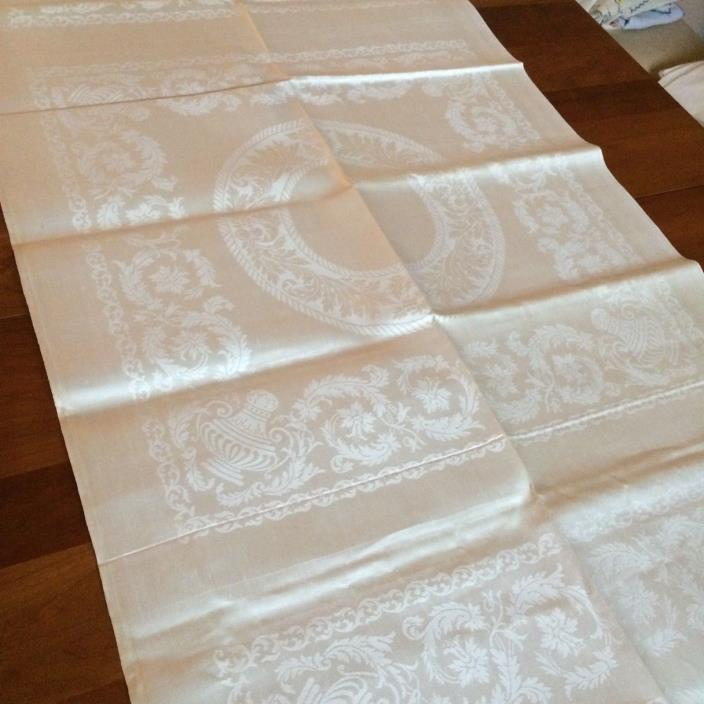 Unused ANTIQUE? vtg ivory 6 napkins IRISH LINEN double damask unhemmed uncut NEW