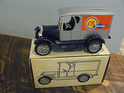 Silver Body/Red CHEVY ERTL 1923 1/2 TON TRUCK BANK /Lock+key stock #9317