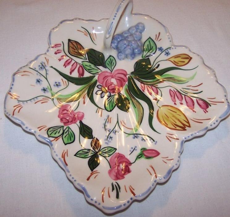 Blue Ridge VERNA Maple Leaf w/Handle Relish Tray Southern Potteries 10 1/2