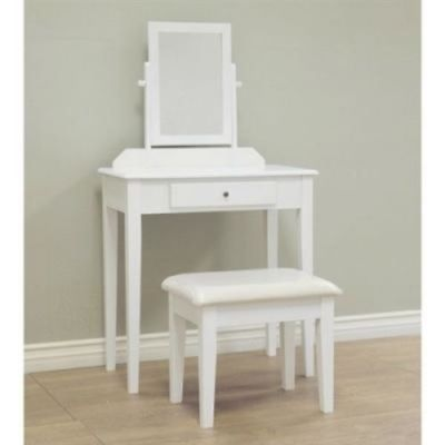 Contemporary White Vanity Set with Beveled Mirror- Free Shipping