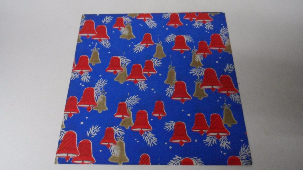 Vintage Christmas Wrapping Paper - RED GOLD BELLS ON BLUE - Unused