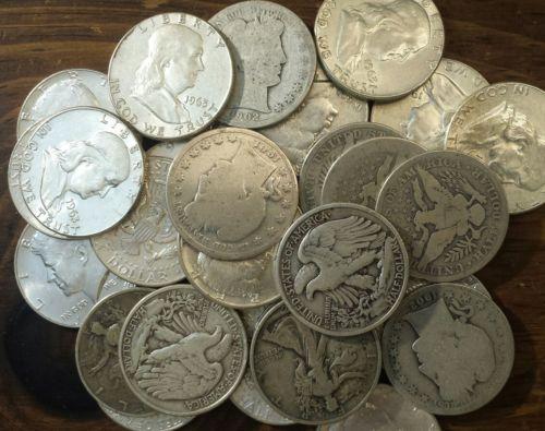 5 Silver Half Dollar Type Set Barber, Walking Liberty, Franklin, Kennedy 50c