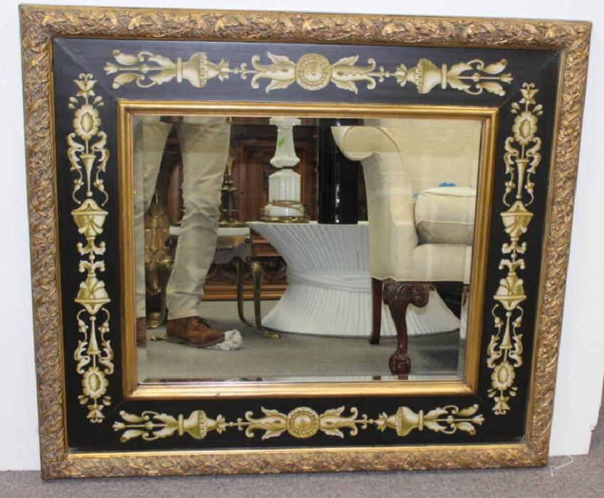 Painted, Gilded and Beveled Decorative Mirror