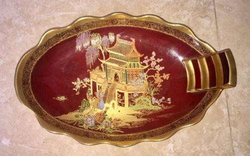Carlton Ware Rouge Royale 'Mikado' Scalloped Oval Dish