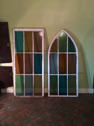 2 Stained Glass Old Church Windows
