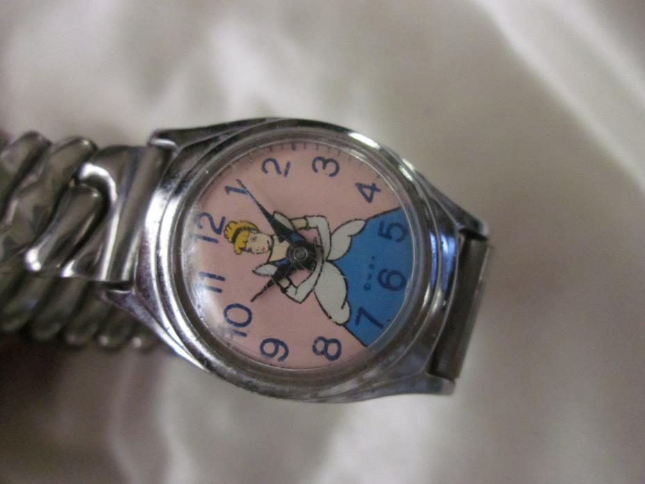 1950's US TIME WDP DISNEY CINDERELLA WATCH As Is needs stem PARTS