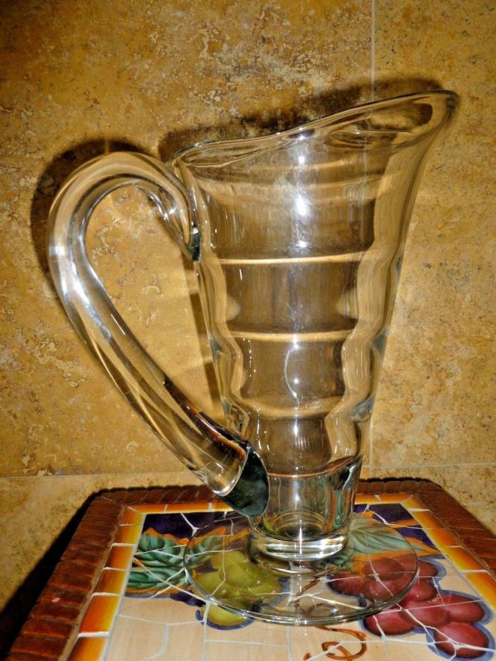 Large Collector's Antique Glass Crystal Pitcher Vase Very Unique MINT 10