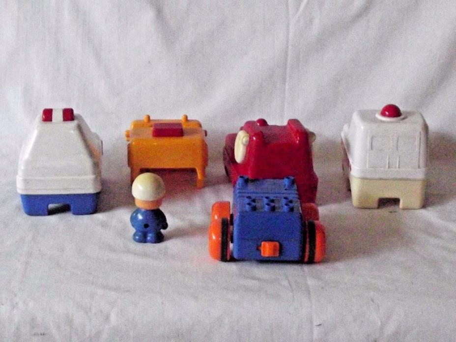 VINTAGE TOMY 1989 CAR DOZER FIRE TRUCK POLICE AMBULANCE AND DRIVER COMBO
