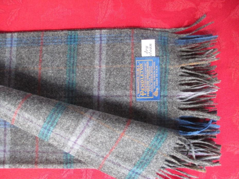 Pendleton Woolen Mills Pure 100% Virgin Wool Scarf Charcoal Plaid Made USA 50 in