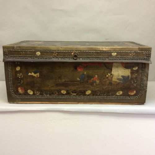 """Chinese Camphor Wood, Leather-Clad, Brass Trimmed, Double Nailhead Trunk 30"""""""
