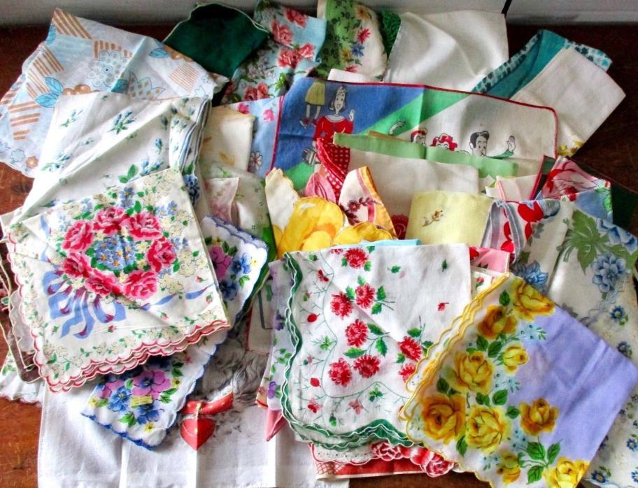 Beautiful Lot 55 Vintage Hankies Handkerchiefs Ladies / Childrens SS Pocahontas