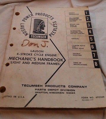 1977 TECUMSEH  MECHANIC HANDBOOK ,MANUAL LAUSON 4-STROKE CYCLE ENGINE - ORIGINAL