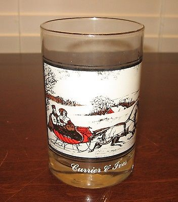 ARBY'S CHRISTMAS GLASS - CURRIER & IVES THE ROAD IN WINTER - 4.75