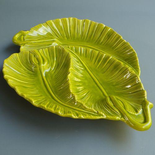 VTG Green Ceramic Textural Tropical Leaf Divided Serving Platter Dish Bowl 15