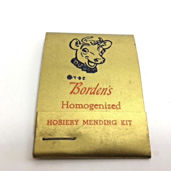 Borden Kit Matchbook Sewing Vintage Hosiery Mending Advertising
