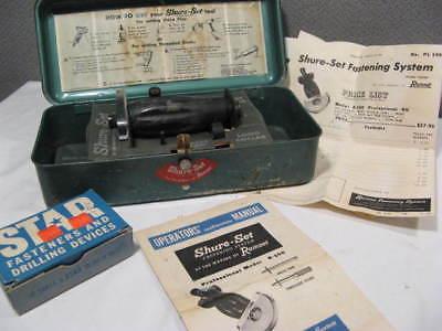 vintage 1956 Ramset Shur-Set Fastening Construction Tool ~ Box, Instructions