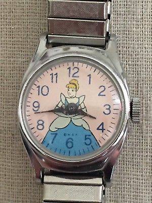 CINDERELLA Vintage US TIME Walt Disney Production WDP Wristwatch Watch
