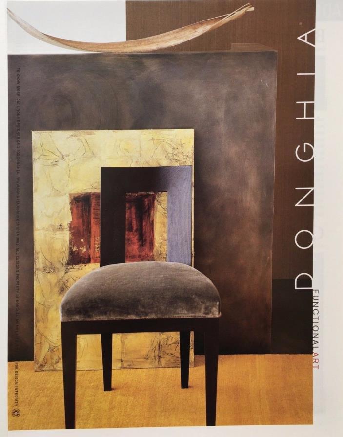 2001 DONGHIA FUNCTIONAL ART Modern Chair  Home Decor  PRINT AD
