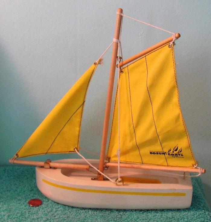 Vintage Bosun Boats Wooden Model Sailboat, Yellow Canvas Sails, Gaff Main