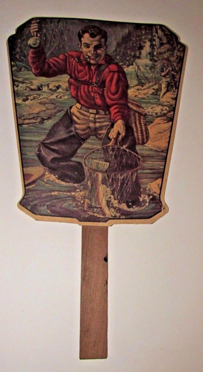 Vtg Advertising Hand Fan Fishing Litho Shelbyville Illinois Fish ED Reed Ins