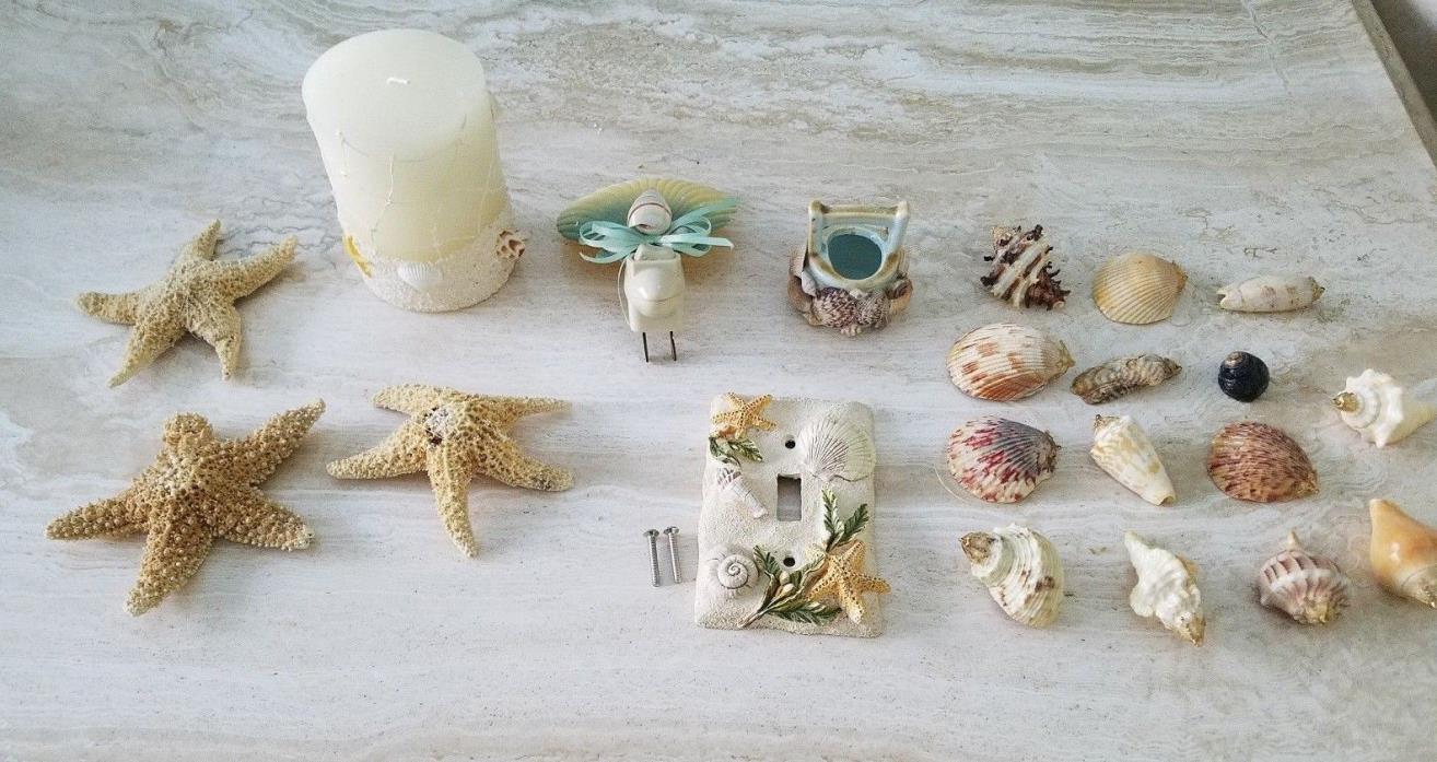 Household Beach Decor Lot-Shells-Candle-Night light-Ocean Decorations