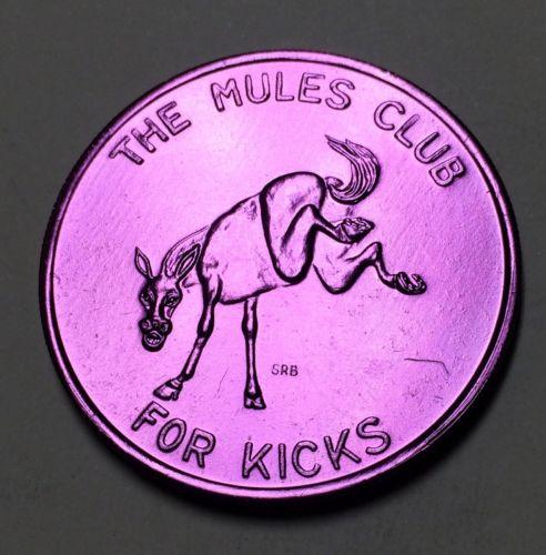 1973 For Kicks The Mules Club Black Gold Mardi Gras Doubloon Purple Mule