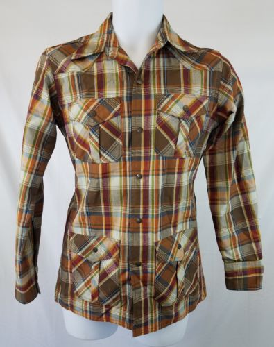 Vintage Mens Land Lubber Shirt Sz Small Brown Plaid Long Sleeve Snap Up