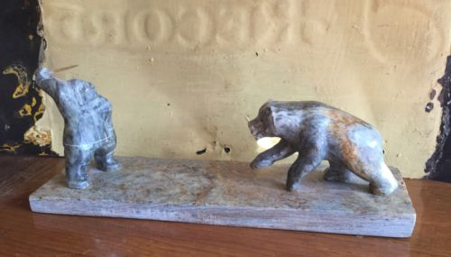 Vintage Alaska Eskimo Inuit Hunter and Grizzly Bear stone Carving