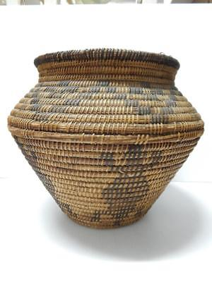 LARGE OLD VINTAGE ANTIQUE PIMA INDIAN FIGURAL BASKETRY OLLA - WILLOW DEVILS CLAW