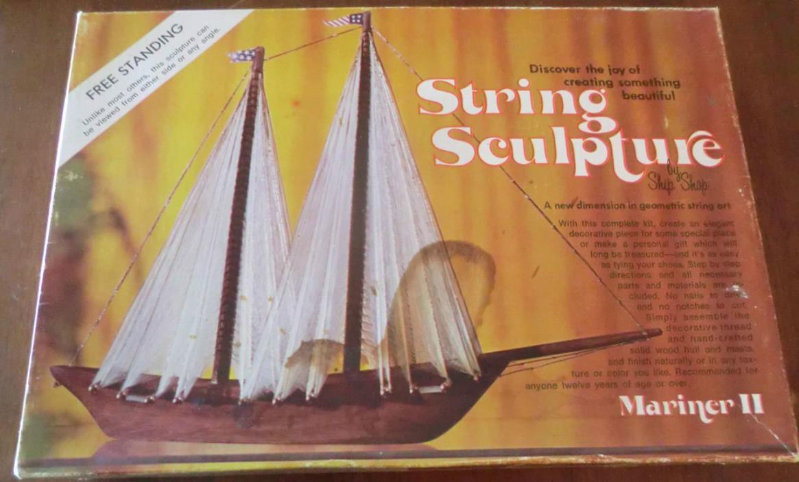 New Ship Shop String Sculpture Mariner II Black #1203 Free Standing Sail Boat