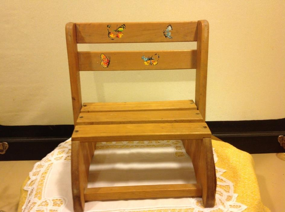 Vintage 1980's child's convertible wooden chair step stool by Nu-Line Industries