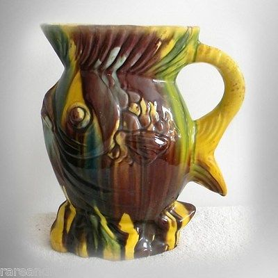 Vintage majolica stylized fish form pitcher - FREE SHIPPING