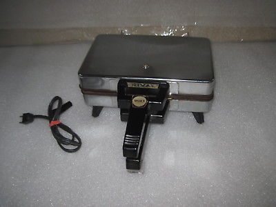 RIVAL Pizzelle & Waffle Maker Model 95  Dual Sided Grids Chrome Nonstick EUC