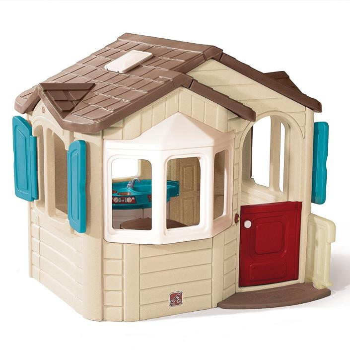 Kids Playhouse Castle indoor Outdoor Play Cottage House Boys Girls Fun Red Door