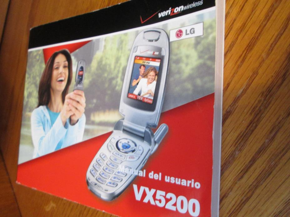 LG VX5200 Verizon Cell Phone Users Guide Owners Manual