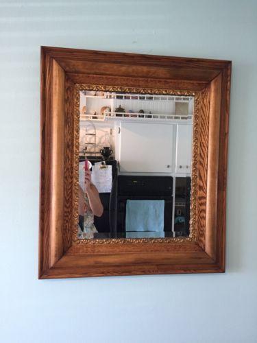 Antique Turn Of Century Victorian Oak Gold Trim Mirror Beveled