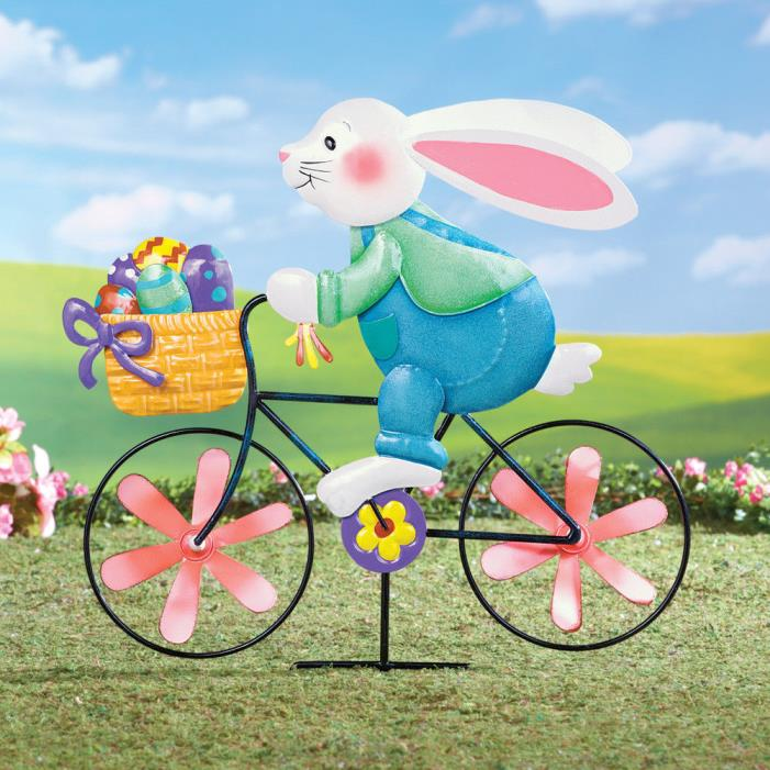 Metal Bunny on Bicycle Spinner Stake Home & Garden Seasonal Yard Decor Easter
