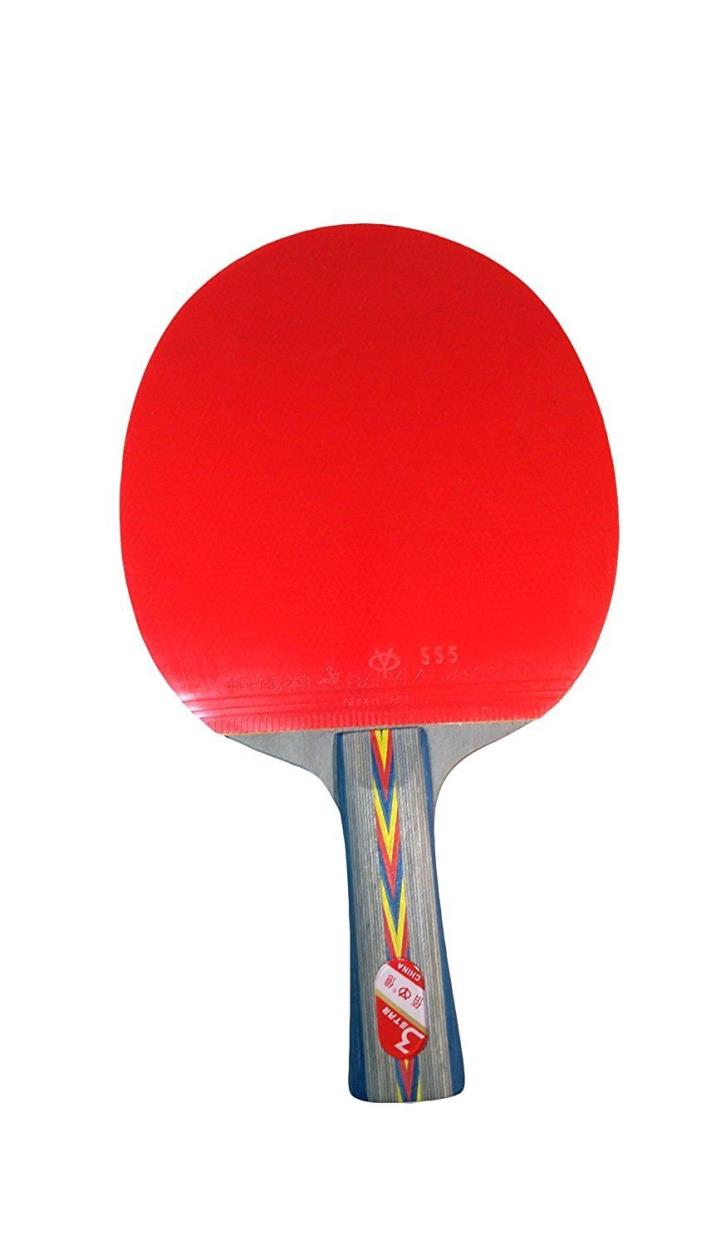Tennis Paddle: 3 star Ping Pong Racket, Table, with Case