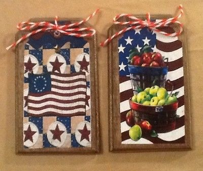 5 Handcrafted Wood Americana HangTags/Ornaments/PRim Patriotic BowlFillers SETl2
