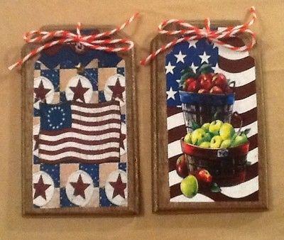 5 Handcrafted Wood Americana HangTags/Ornaments/PRim Patriotic BowlFillers SETl2