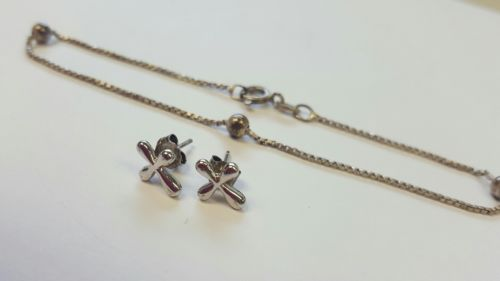 Sterling Silver BRACELET  & Cross Earrings *ELEGANT* .925