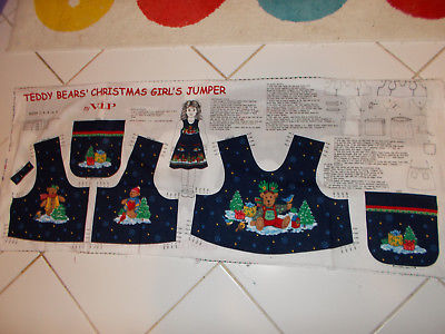 Christmas Teddy Bear's Girls Jumper  Fabric Panel for Girls Jumper size 2-8
