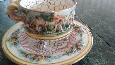Vintage Capodimonte Tea Cup & Saucer 2226 Beautiful