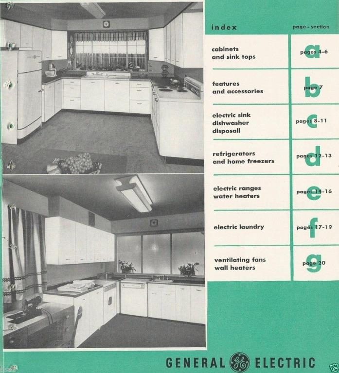 VTG 1948 GENERAL ELECTRIC GE Kitchen APPLIANCES Catalog RETRO Refrigerator Range