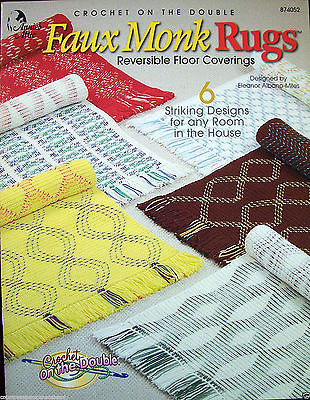 Annie's Attic Crochet on the Double Faux Monk Rugs 6 Reversible Patterns New