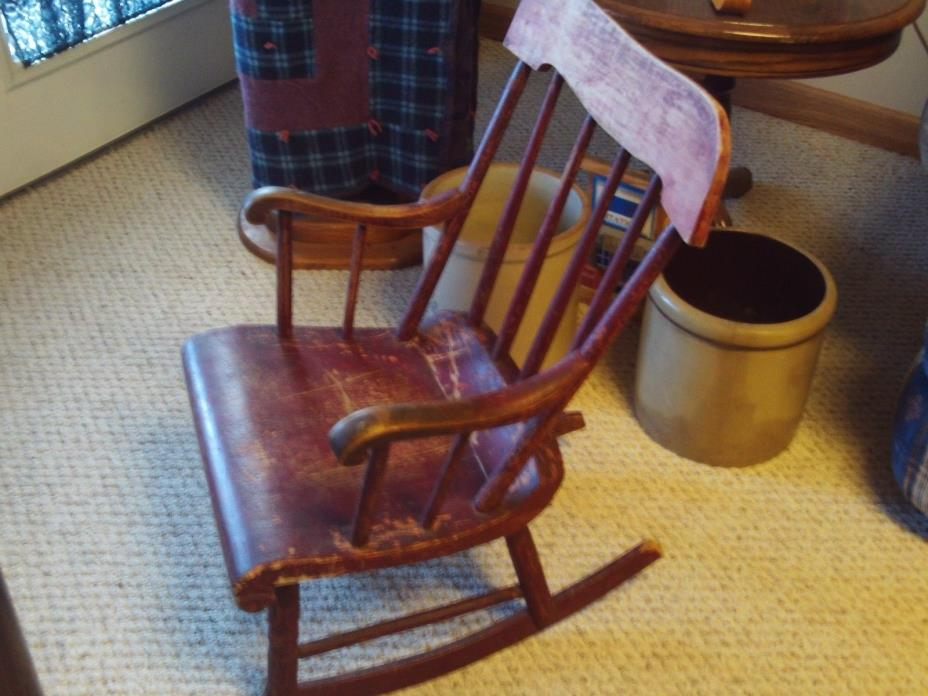 1880s Childs Rocker rocking chair in original red paint bottom dated with family