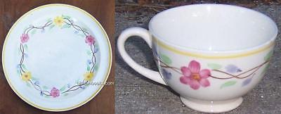 Lot of Two Blue Ridge Pottery Pink and Yellow Flower Garland Dinner Plate & Cup